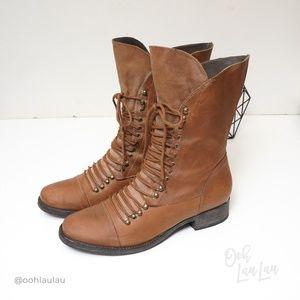 "JOIE ""Jovi"" Lace Up Flat Riding Boots"